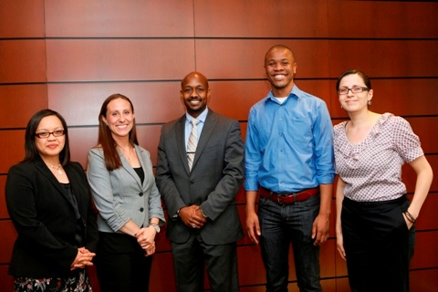 2012 AFP Chicago Fellows Class (L-R): April Lewton, National Benevolent Association; Aimee Mandolini, Illinois Network of Charter Schools; Jason X. Gilmore, Access Living of Metropolitan Chicago; Rohan Barrett, Goodman Community Center; Gabriela Arismendi