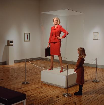 business woman on display