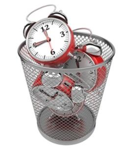 clocks in trash can