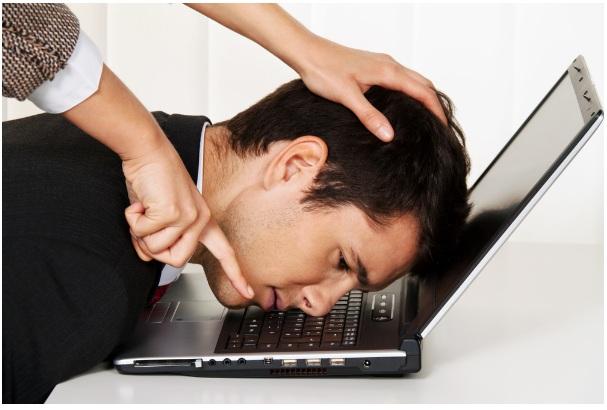 forced work man laptop