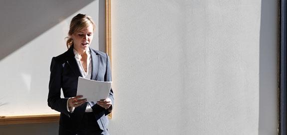 woman practicing speech
