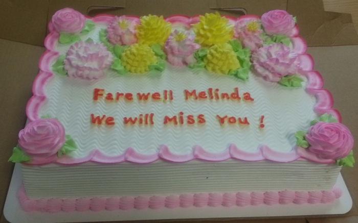 Melinda farewell cake