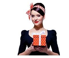 women holding gift box